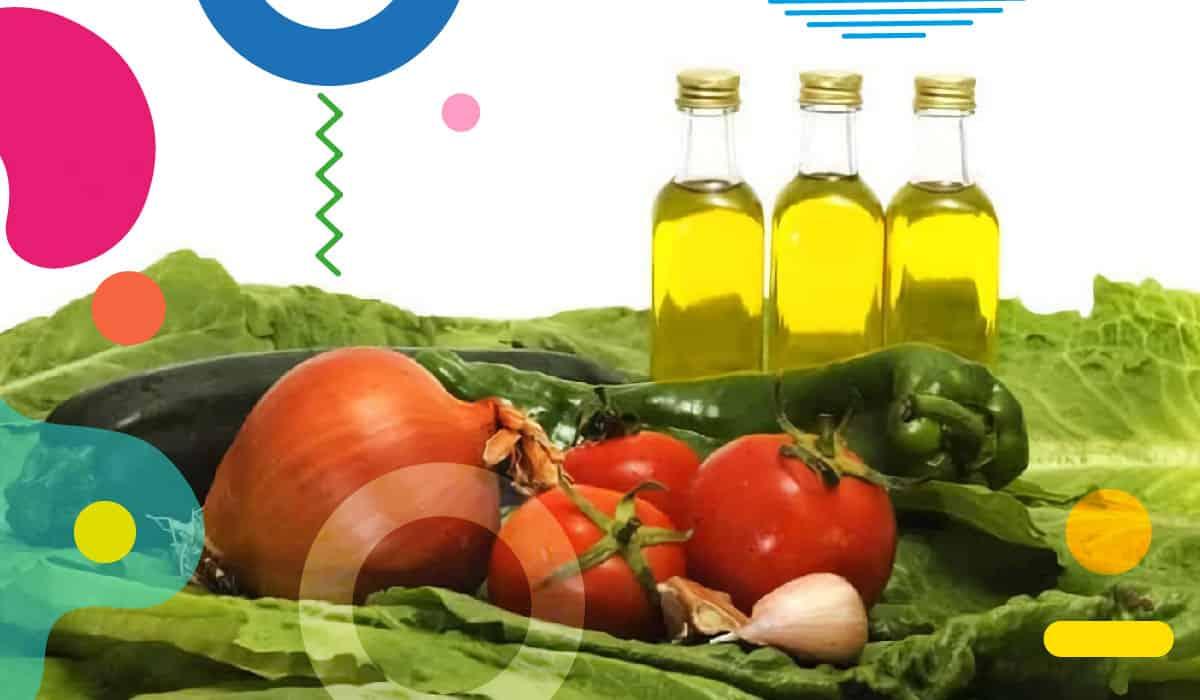 Dieta mediterranea, olio di oliva, pomodori, cipolla, aglio, zucchine, lattuga e peperoni - alimentazionebambini. It by coop