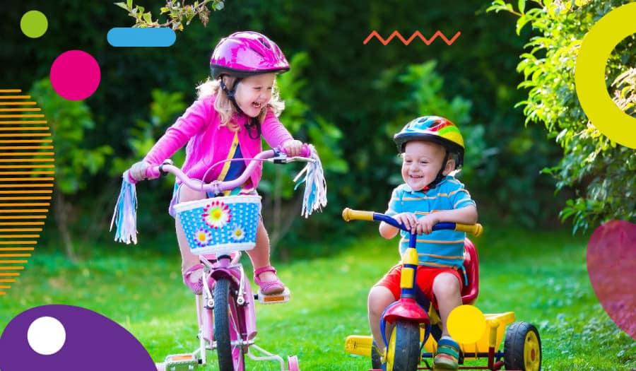 Obesità infantile, bambini che vanno in bicicletta - alimentazionebambini. It by coop