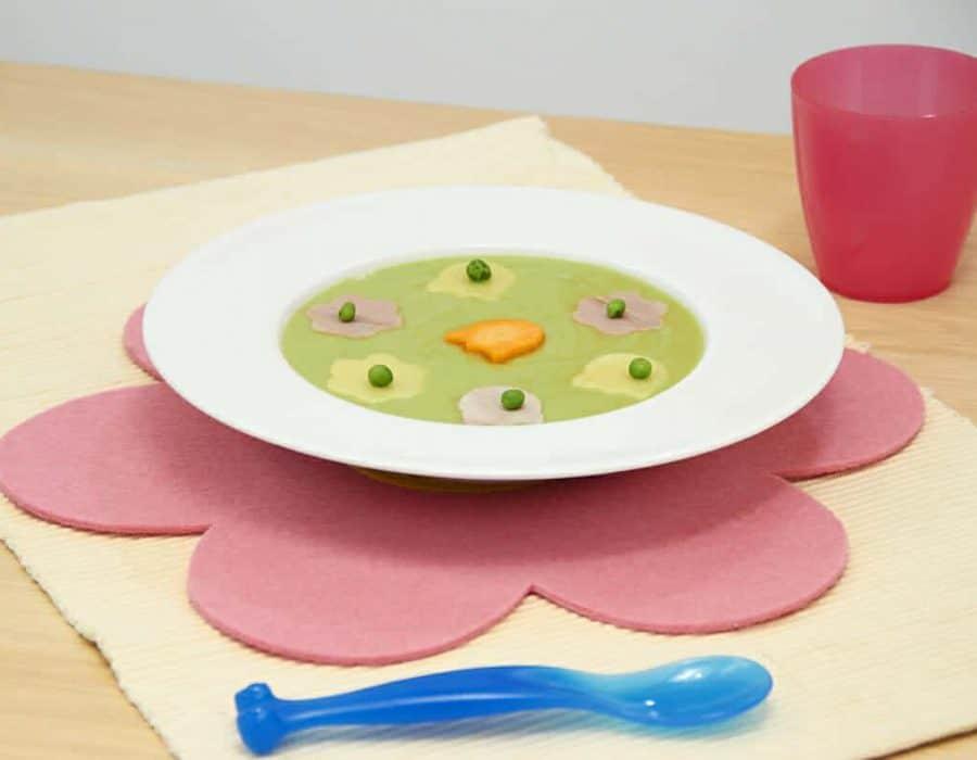 Crema di piselli fiorita ricette per bambini 1-3 anni