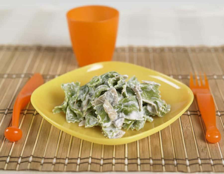 Farfalline verdi con ricotta e funghi Ricette per bambini 4-10 anni