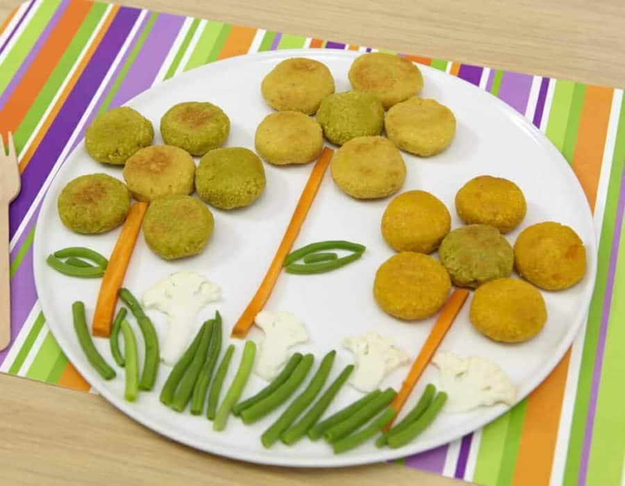 Polpette tricolore alla farina di ceci Ricette per bambini 1-3 anni