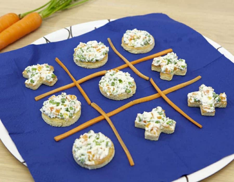 Bruschettine gioco del tris ricette per bambini 1-3 anni