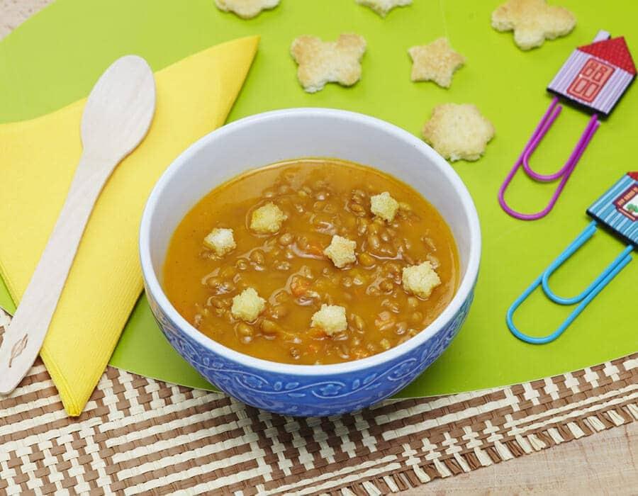 Zuppa con farro, lenticchie e zucca