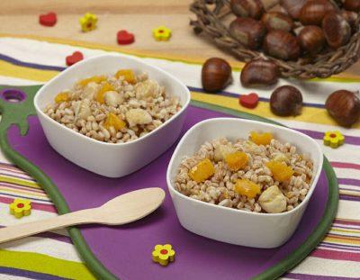 Farro con zucca e castagne ricette per bambini 1-3 anni