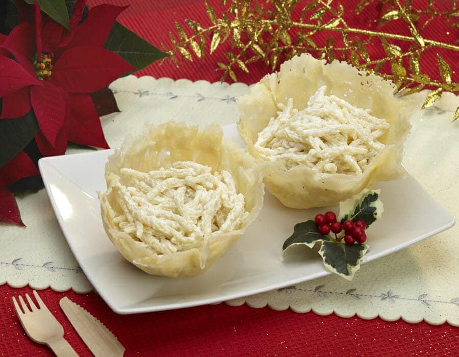 Cestini di parmigiano bianco Natale