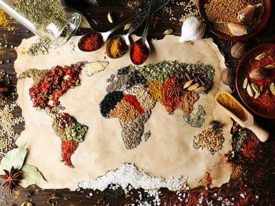 Mappa del mondo con spezie