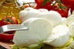 11266346 - a fresh italian mozzarella with tomato