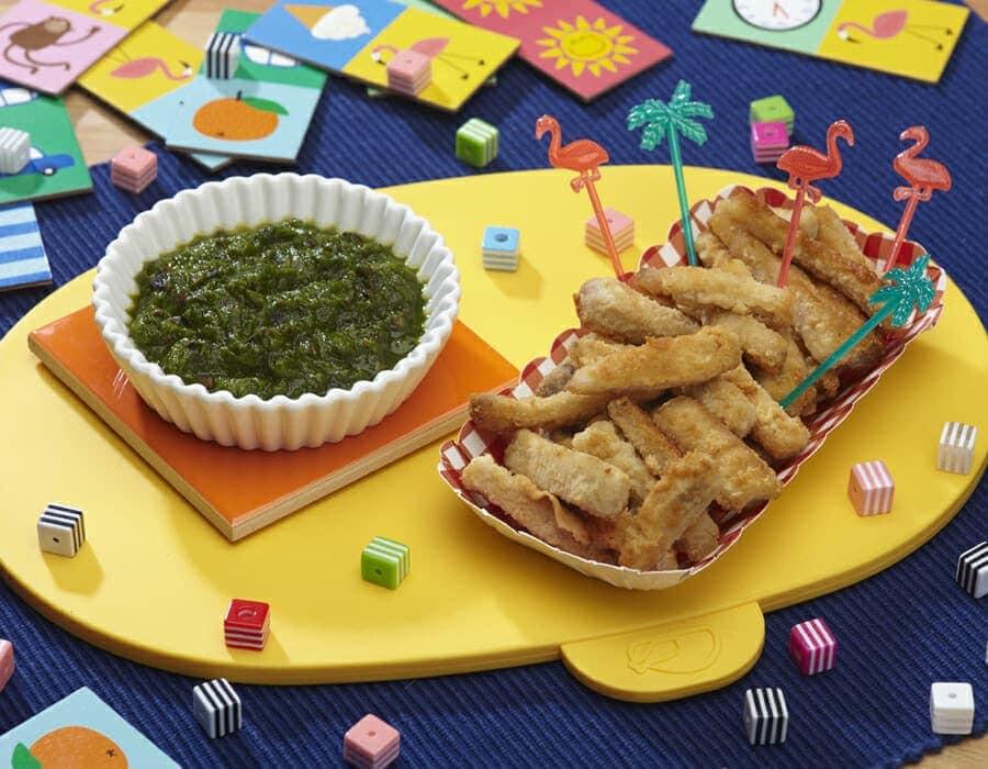 Patatine di pesce spada con crema di scarola ricette per bambini 1-3 anni