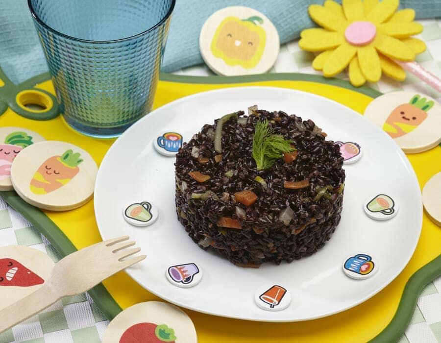 Tortini di riso venere e verdure