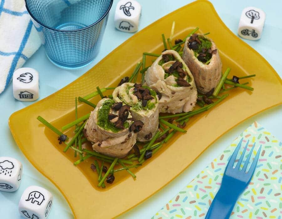 Involtini di trota salmonata con salsa di scarola Ricette per bambini 1-3 anni