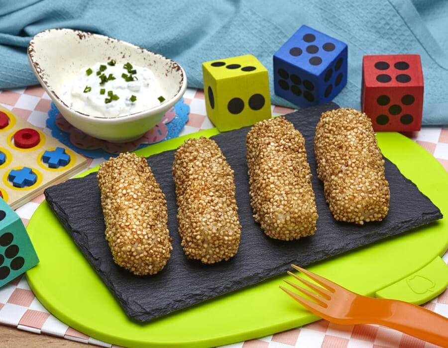 Nasello in crosta di quinoa con salsa Ricette per bambini 4-10 anni