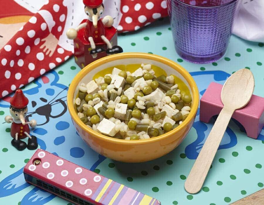 Orzo con verdure e tofu