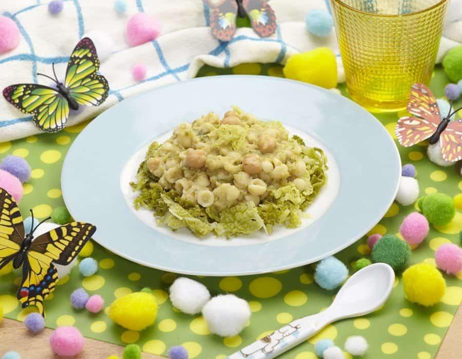 Conchigliette con crema di ceci e verza ricette per bambini 1-3 anni