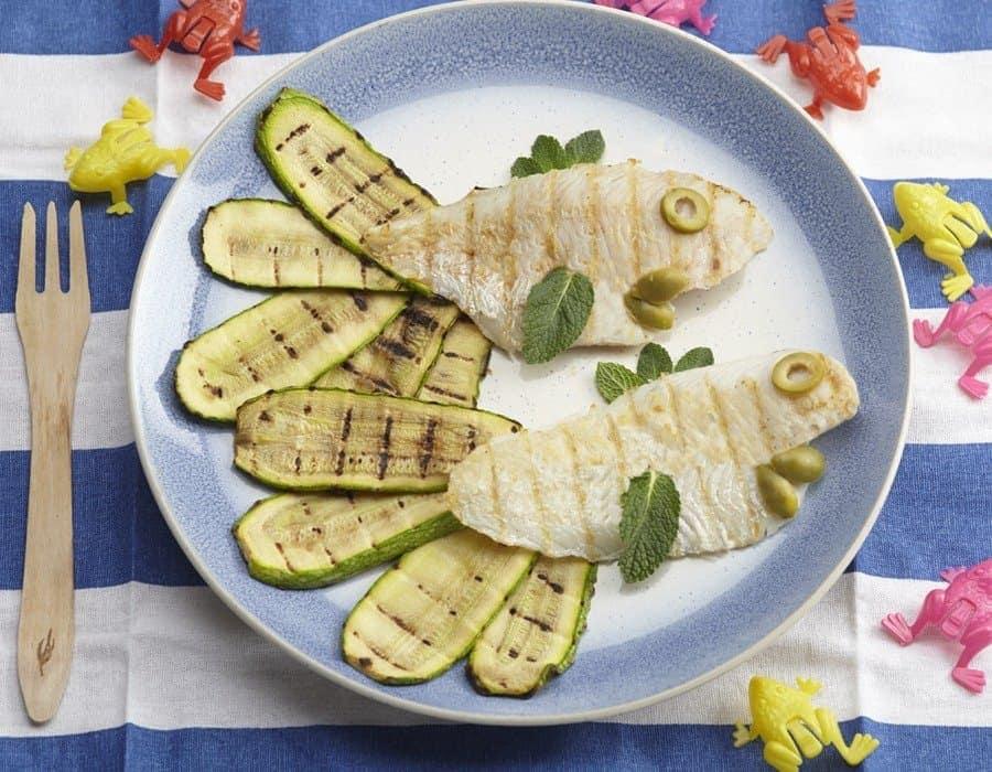 Merluzzo grigliato con zucchine e menta Ricette per bambini 1-3 anni