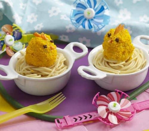 Pulcini su nido di spaghetti Ricette per bambini 1-3 anni
