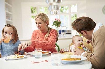 Condivisione dei pasti in famiglia