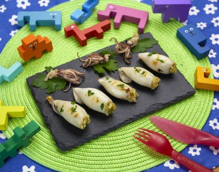 Calamari ripieni con riso e zucchine