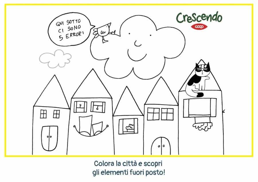 Illustrazione da colorare della nuvola olga e le casette